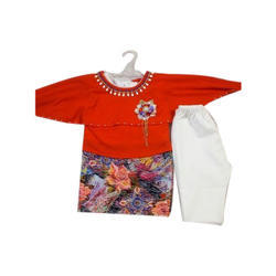Cotton Party Wear Kids Tunic Top And Legging