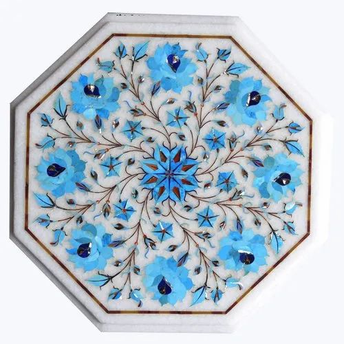 White Marble Inlay Table Top Antique Inlay Table Top