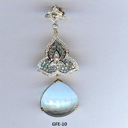Blue Topaz Real Fine Yellow Gold Earring