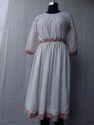 4 Color Plain Border Printed Body With Silk Satin Skirt Dress
