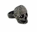 Skull Diamond Silver Ring