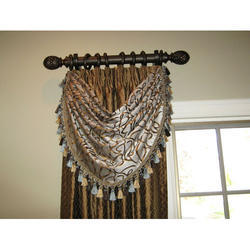 Brown Wooden Decorative Curtain Rod