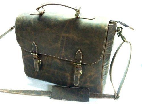 Vintage Brown HV Crunch Leather Briefcase Shoulder Bag, Pure Leather: Yes, Packaging Type: Export Quality Packing