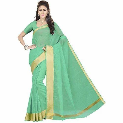ea06a5dbef7087 Green Banarasi Silk Kota Saree