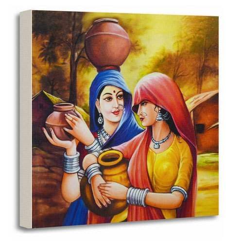 AAF Rajasthani Art Stretched Canvas Home Decorative Gift Item Wooden Framed Painting