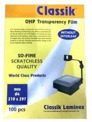 Transparent Classik OHP Sheets, Size: A/4, 100 Mic