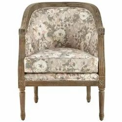 Rustic Finish Comfortable Upholstered Side Arm Chair