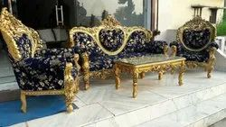 Blue Wooden Teak Wood Sofa Set With Table, For Home