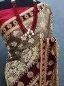 Party Wear Embroidery Brasoo Net Jacquard Saree