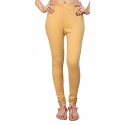 Plain Beige Golden Cotton Leggings