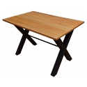 Iron Base Wooden Top Dining Table