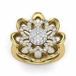 Meena Flower Diamond Ring 18K Yellow Gold 0.87 Ct IJ-SI Clarity