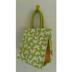 Green Printed Rope Handle Fancy Jute Bag, Capacity: Upto 10 Kg, Size/Dimension: 10 X 10 X 4 Inch