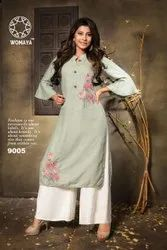 WOMAYA RAYON EMBROIDERED KURTI WITH PALAZZO