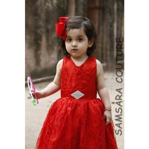 ecae62775e73 Satin Also Available In Velvet And Chiffon Baby Red Party Wear Dress ...