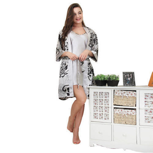 d862bfc123a2 Catch my style Nighties and Shorts   Pyjamas Sets Ladies Satin Printed Grey  Night Gown Set