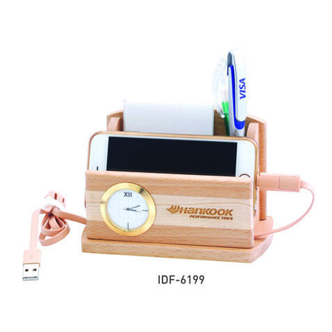 Multicolor lakshay' ' s Wooden Pen Stand With Clock