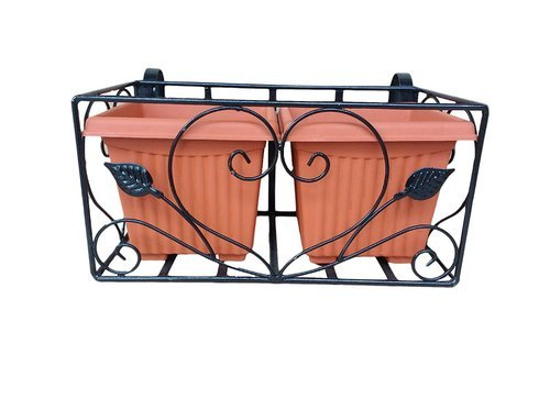 Black, Brown Railing Rectangular Planter Metal with 8 Inch Square Pots