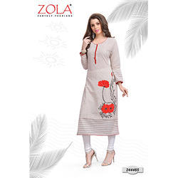 Cream with Red Kurti