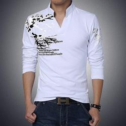 Casual Wear Full Sleeves Mens White T-Shirt, Size: S to XXL