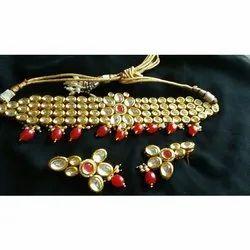 Party Wear Kundan Necklace Set, Packaging Type: Box