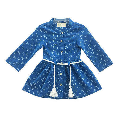 7f8508eede8a Blue Cotton Baby Girl Full Sleeve Frock With Belt