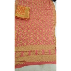 Peach and Golden Ladies Georgette Zari Saree, Packaging Type: Box