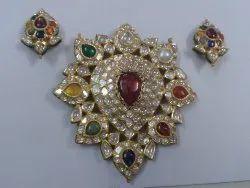 Gold Navratna And Natural Uncut Diamond Polki Stone Pendant Set