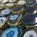 Blue Agate Coasters with Gold Plating
