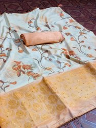 Jacquard Panel Silk Saree