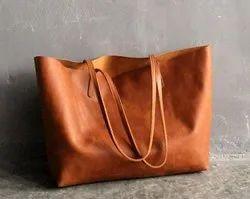 Tan Brown Leather Tote Bag