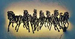 Antique Black Acrylic Horse Wall Art, Size: 900* 369 Mm