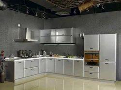 Stainless Steel L Shape Metal Modular Kitchen, Warranty: 5-10 Years, Residential