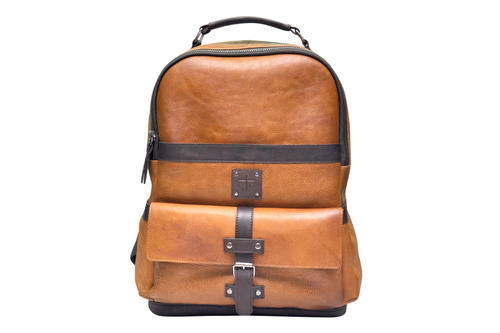 Unisex TAN AND BROWN SLC-BP-04 LEATHER BACKPACK