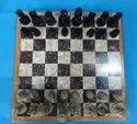 Black, Red And White Marble Chess Set