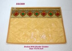 Single Saree Cover Broket With Border Golden
