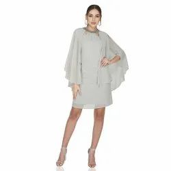 Grey Polyester Georgette Cocktail Wear Necklace Cape Dress