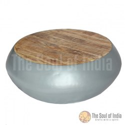 Metal Bowl In Round Shape With New Mango Wooden Top Metal In Da Grey Powder Coating Finish.