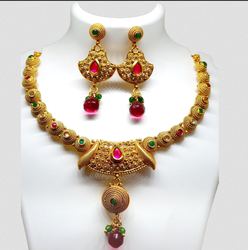 Love Jewellery Gold Plated With Red Stone Designer Necklace