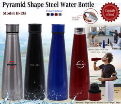 Pyramid Shape Steel Water Bottle H-135