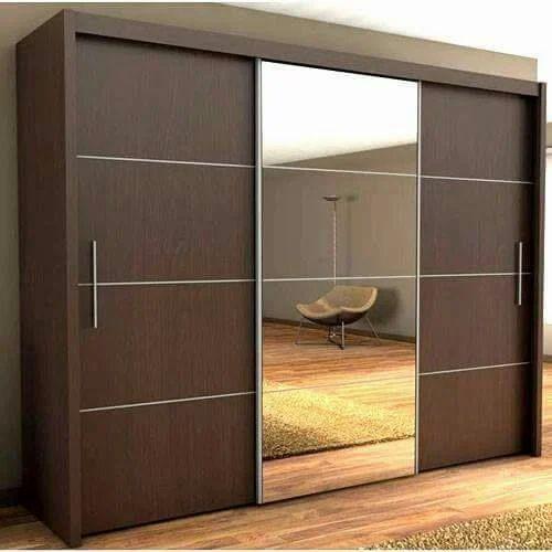 Dark Brown Mirror Wooden Wardrobe, Rs 950 /square Feet