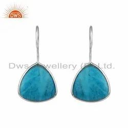 Matrix Turquoise Gemstone Sterling Fine Silver Hook Earrings
