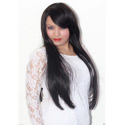 Synthetic Black/ Maroon Mix Wig