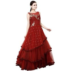 Party Wear Embroidered Ladies Red Net Gown