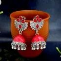 Modern Alloy Jewelemarket Red Oxidized Plated Jhumki Earrings