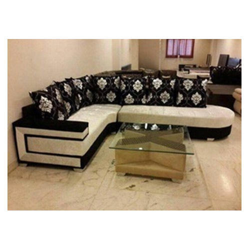 Leather Black And White L Shaped Sofa Set