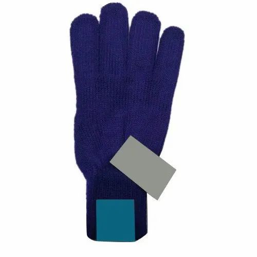 Blue Plain Boys Acrylic Woolen Gloves, Packaging Type: Packet, Size: S-xxl