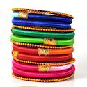 Indian Handcraft Multicolour Gold Plated Silk Thread Bangle