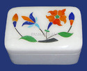 Inlay Work White Marble Pill Boxes, Shape: Rectangular, For Home