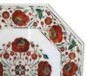 Indian Stone Inlay White Marble Inlay Table Tops